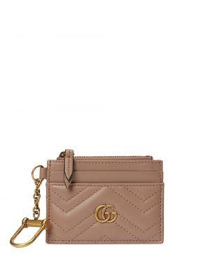 Pikowana portfel skórzany złoto z gniazdem z prawdziwej skóry Gucci