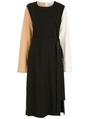 Прямое черное платье миди с длинными рукавами Gloria Coelho