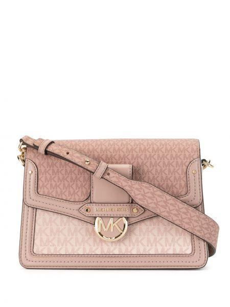 Розовая сумка на плечо металлическая на молнии Michael Kors