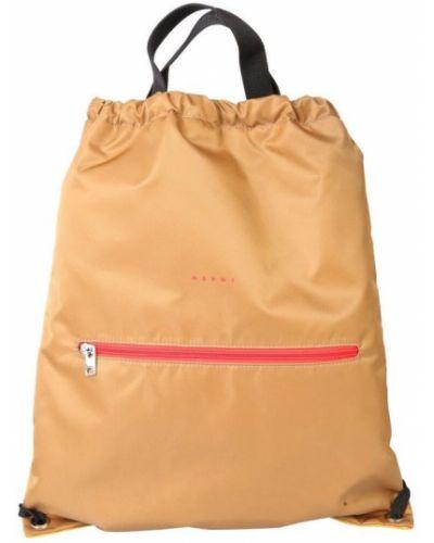 Beżowy plecak sportowy na co dzień w paski Marni