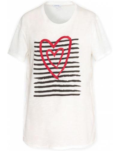 Хлопковая прямая футболка с вышивкой с принтом Gerard Darel