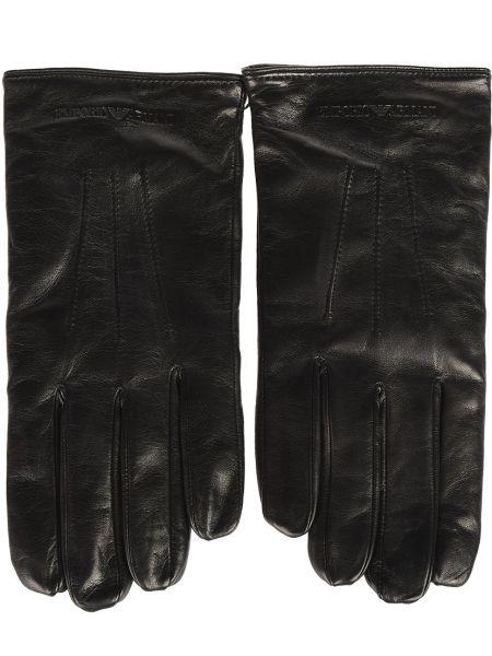 Черные кожаные перчатки Emporio Armani