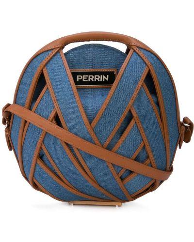 Синяя сумка через плечо круглая с перьями Perrin Paris