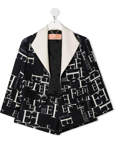 Czarny garnitur z długimi rękawami z wiskozy Elisabetta Franchi La Mia Bambina