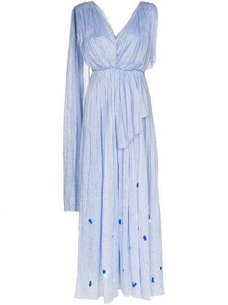 Синее платье макси с вышивкой со складками с V-образным вырезом Vika Gazinskaya