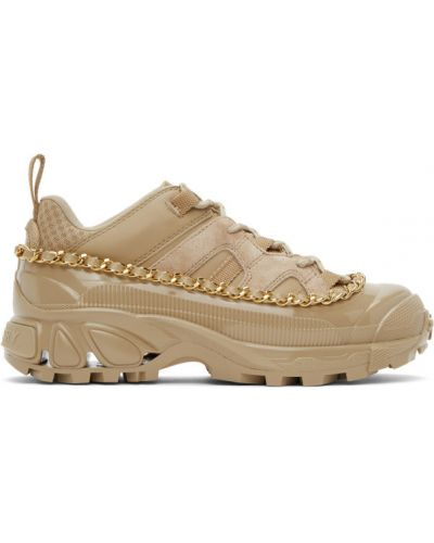 Коричневые текстильные кожаные кроссовки на шнуровке на каблуке Burberry