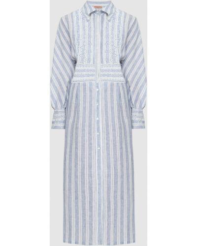 Льняное синее платье макси Ermanno Scervino