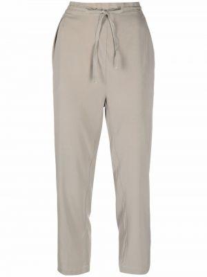 Шелковые серые укороченные брюки с карманами Kristensen Du Nord