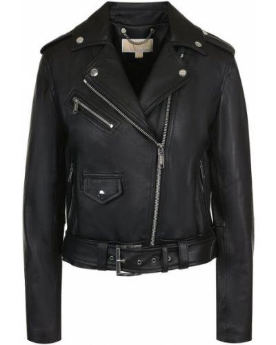 Кожаная куртка с поясом из полиэстера на молнии Michael Michael Kors