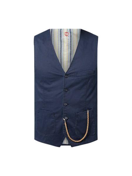 Niebieska kamizelka bawełniana z dekoltem w serek Cg - Club Of Gents