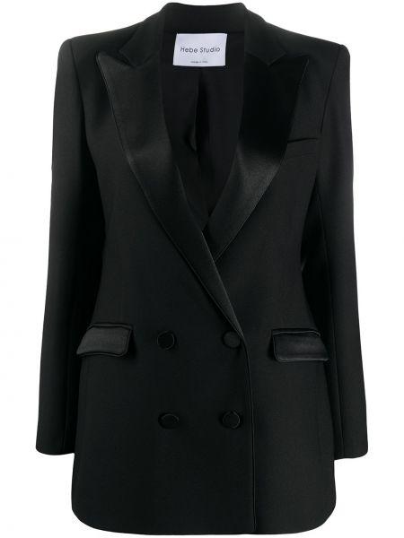 Черный приталенный классический пиджак двубортный Hebe Studio