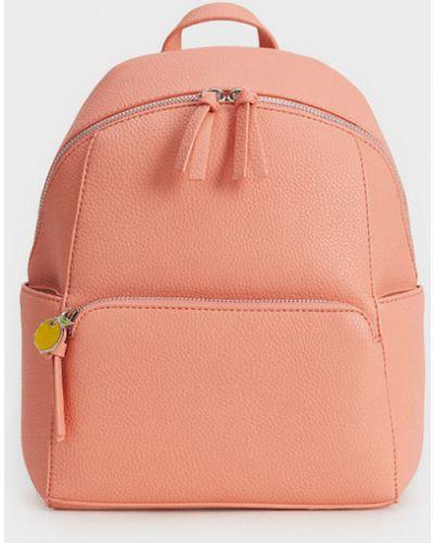 Кожаный рюкзак красный коралловый Parfois