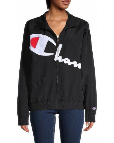 Черная длинная куртка с воротником с карманами Champion