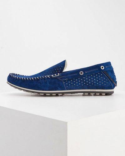 Синие кожаные мокасины Fabi