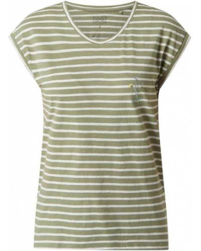 Zielona bluzka w paski z haftem Esprit