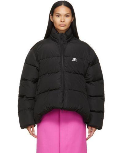 Черная длинная куртка с капюшоном для полных Balenciaga