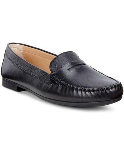 Мокасины кожаные черные Ecco