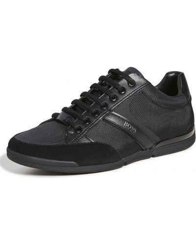 Кожаные черные кроссовки на шнурках Boss Hugo Boss