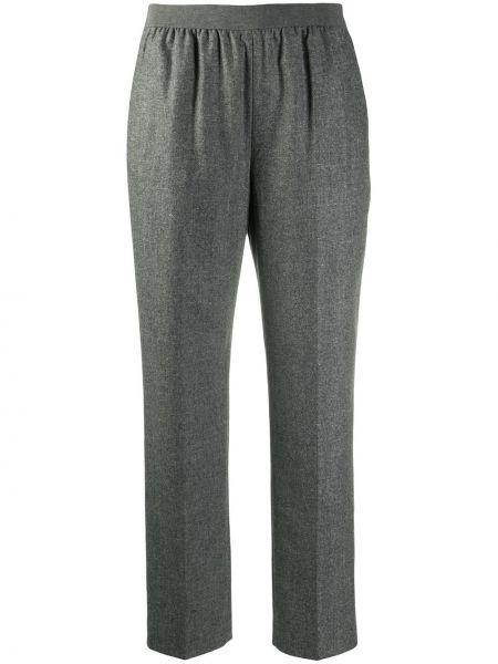Серые прямые брюки с поясом из мохера Agnona