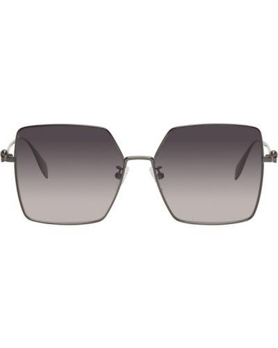 Кожаные солнцезащитные очки квадратные с черепами Alexander Mcqueen