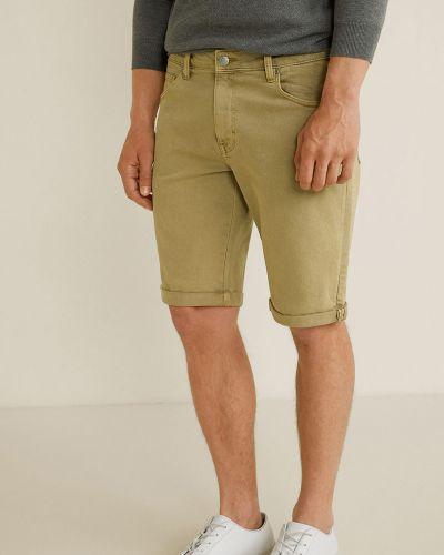 Джинсовые шорты с карманами бежевые Mango Man