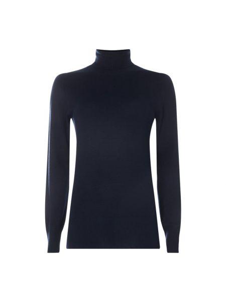 Prążkowany niebieski sweter z wiskozy Kaffe