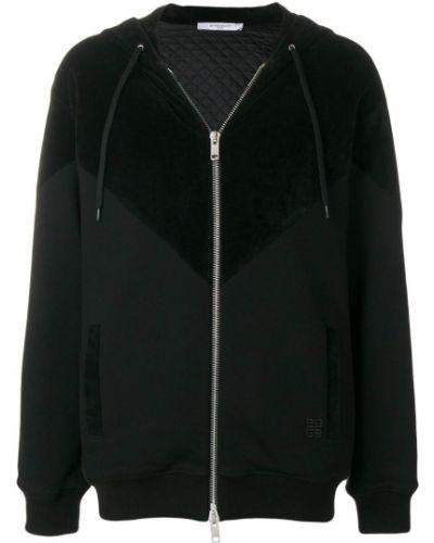 Z rękawami jedwab czarny bluza z kapturem z kapturem Givenchy