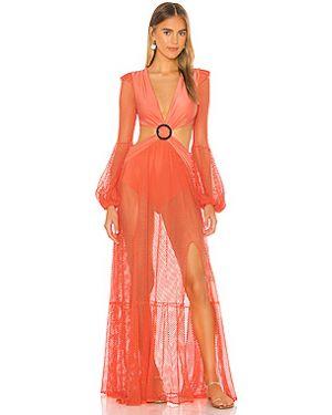 Оранжевое акриловое платье макси сетчатое с сеткой Patbo