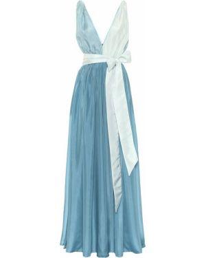 Шелковое синее платье макси Kalita