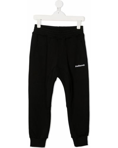 Хлопковые брючные черные брюки с карманами Neil Barrett Kids