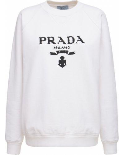 Хлопковый свитшот - белый Prada