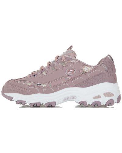 Розовые кроссовки на шнуровке Skechers