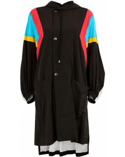 Черное длинное пальто с капюшоном на пуговицах Koché