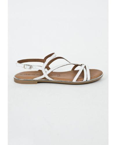 Белые сандалии кожаный Tamaris