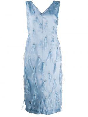 Шелковое синее платье миди с перьями Emilio Pucci
