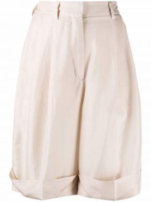 Шелковые бежевые шорты с карманами Alberto Biani