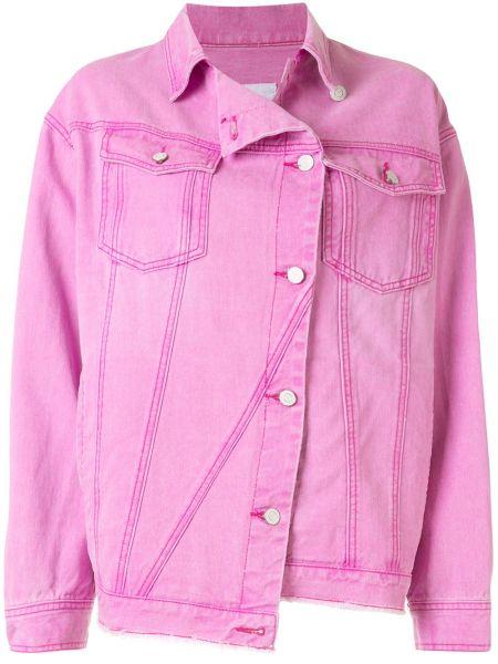 Джинсовая куртка длинная розовая Sjyp