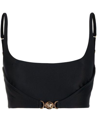Золотистый черный топ с вырезом Versace