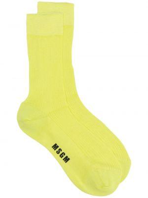 Хлопковые желтые носки в рубчик Msgm