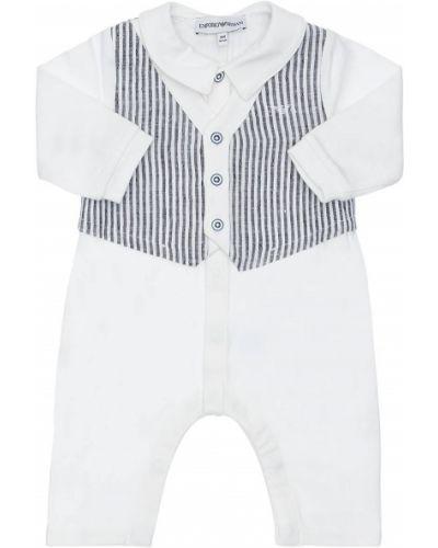 Z rękawami bawełna bawełna biały pajacyk Emporio Armani