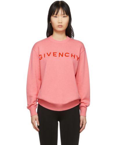 Kaszmir długi sweter z długimi rękawami z mankietami z kołnierzem Givenchy