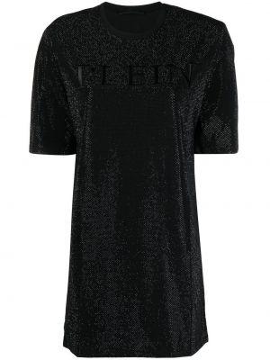 Хлопковое черное платье-рубашка с короткими рукавами Philipp Plein
