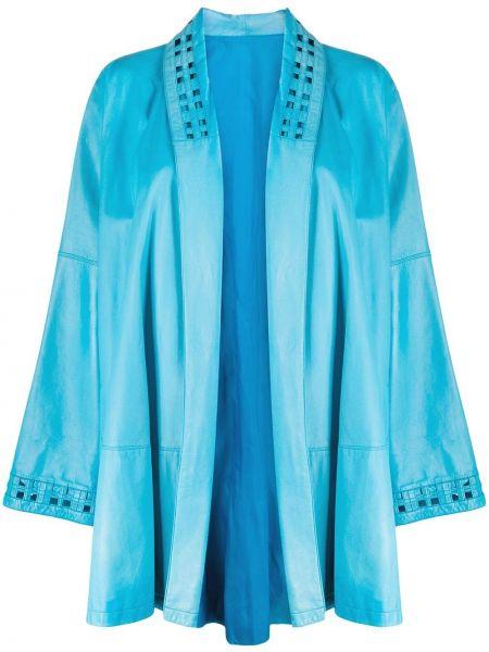 Синяя кожаная куртка винтажная A.n.g.e.l.o. Vintage Cult