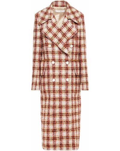 Бежевое кожаное пальто двубортное Victoria Beckham