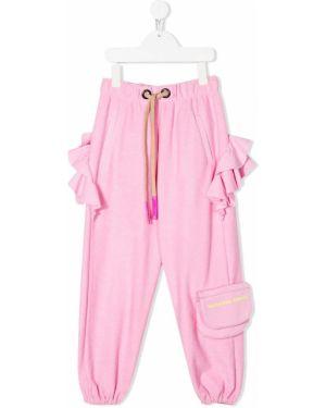 Спортивные розовые брюки с карманами с оборками Natasha Zinko Kids