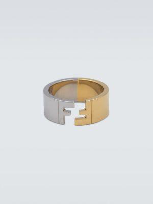 Żółty pierścionek srebrny Fendi