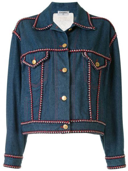 Хлопковая синяя джинсовая куртка с воротником Chanel Pre-owned