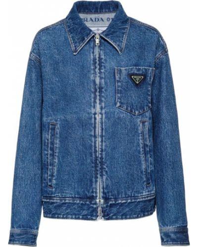 Джинсовая куртка на пуговицах на молнии Prada