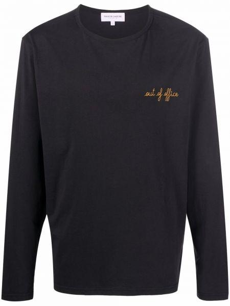 Czarna t-shirt z haftem Maison Labiche