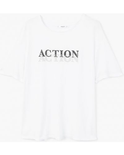 Белая свободная футболка Mango